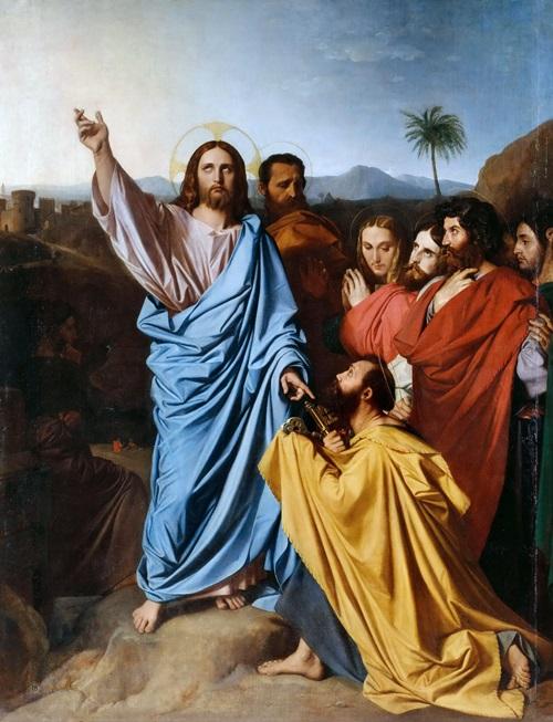 Христос, дающий ключи от рая святому Петру.