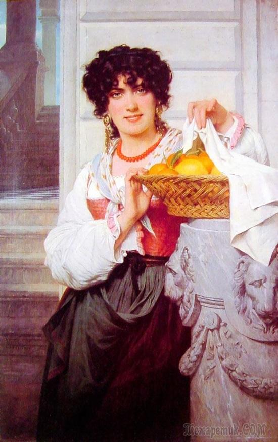 Девушка с корзиной апельсинов и лимонов
