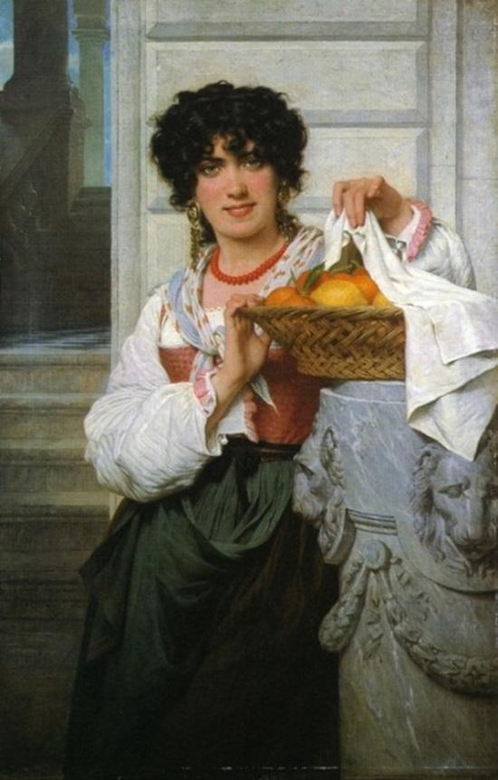 Пизанская девушка с корзиной апельсинов и лимонов