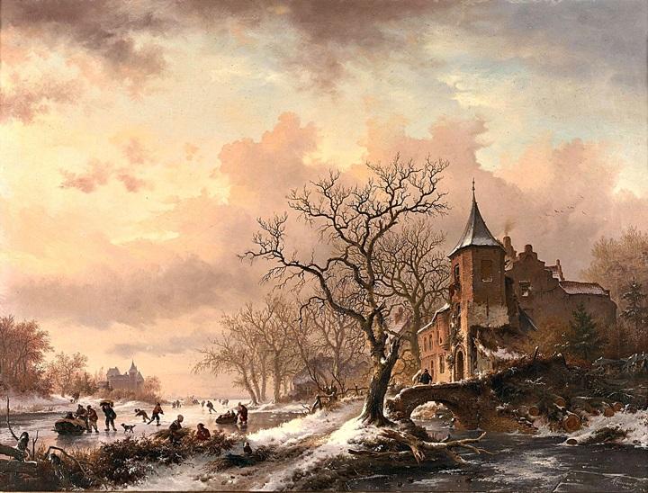 Замок на фоне зимнего пейзажа и фигуристы на замерзшей реке