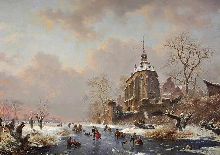 Зимние удовольствия на льду возле замка