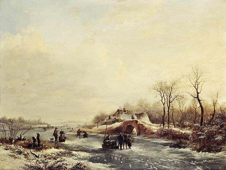 Зимний вид замерзшего канала
