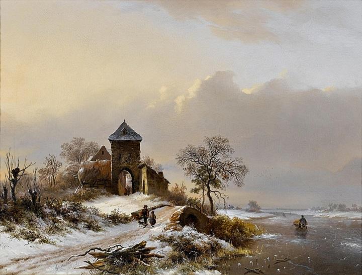 Зимний пейзаж с въездными воротами в Вилворде