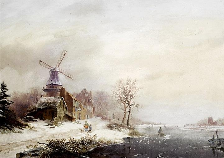 Зимний пейзаж с деревней. мельницей и фигурами