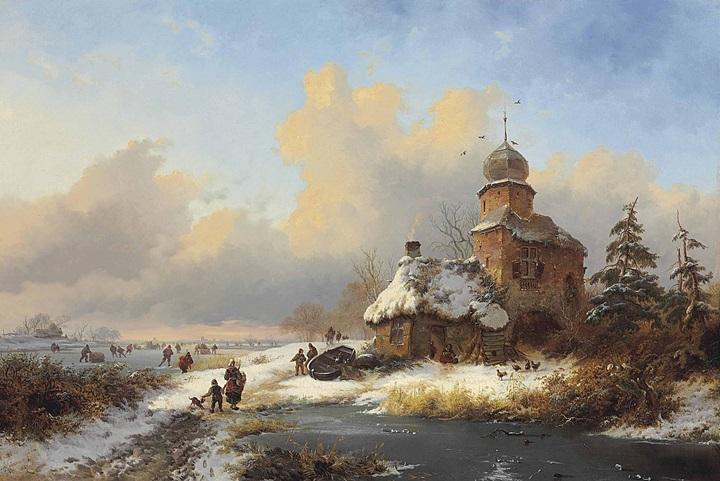 Зимний пейзаж с забавами на льду замерзшей реки