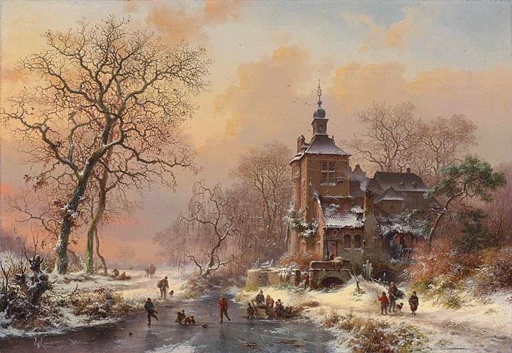 Зимний пейзаж с конькобежцами на замершей реке
