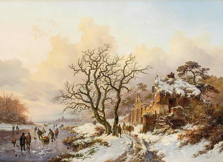 Зимний пейзаж с руинами часовни в Вилье-ла-Виль