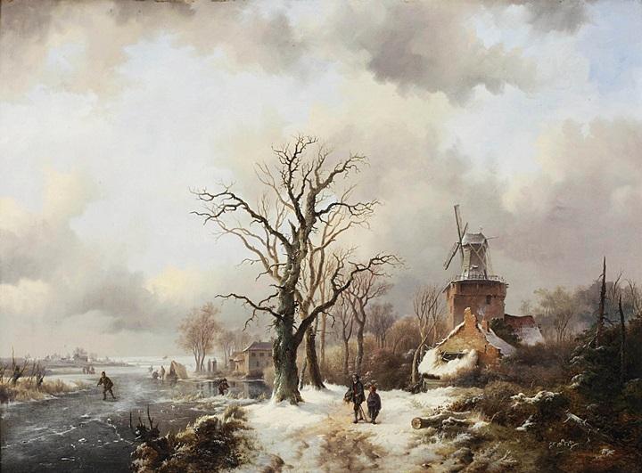 Зимний пейзаж с фигурами на дороге у ветряной мельницы