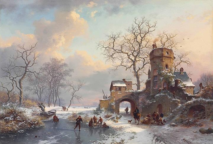 Зимний пейзаж с фигурами на льду