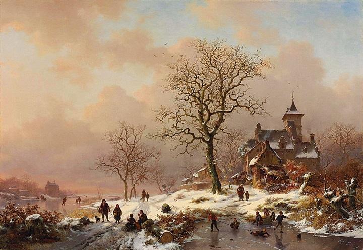Зимний пейзаж с фигурами, играющими на льду