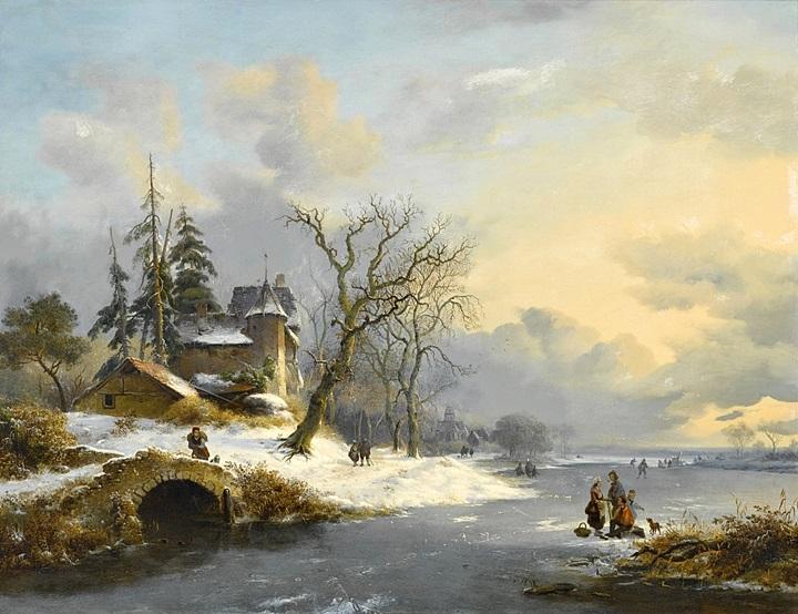 Зимний пейзаж с фигурами