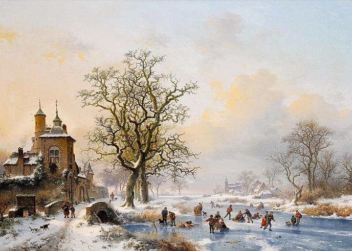 Зимний пейзаж с фигуристами возле замка