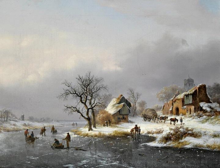 Зимний пейзаж с фигуристами