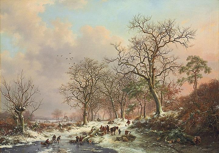 Сборщики хвороста в зимнем пейзаже с замком вдали