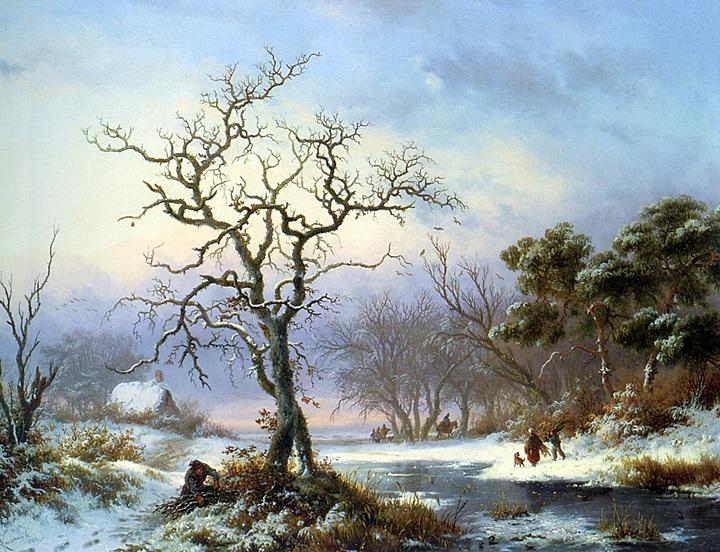 Сборщики хвороста в зимнем пейзаже