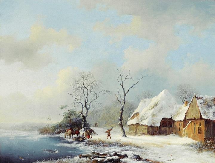 Сборщики хвороста в снежном пейзаже