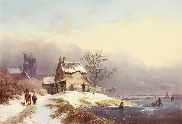 Сельчане на замерзшей реке