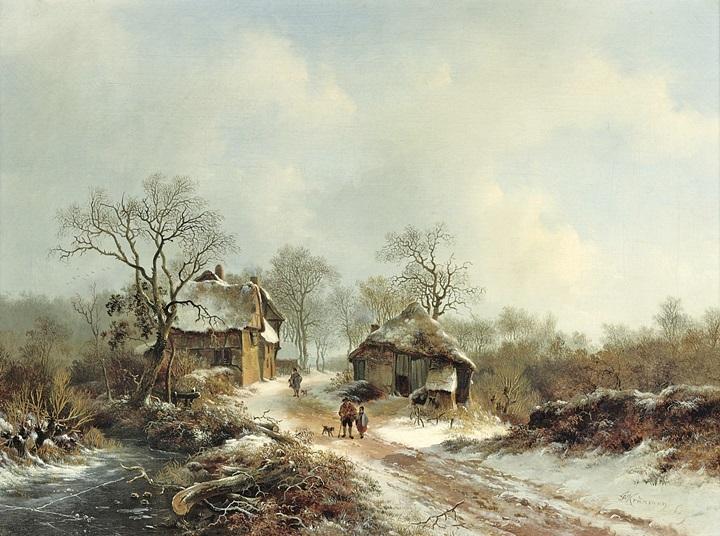 Сельчане на снежной дороге