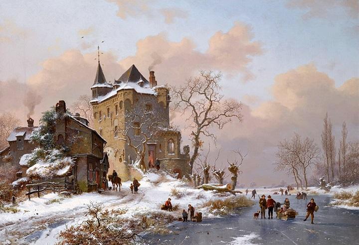 Фигуристы возле замка в зимний день