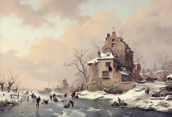 Фигуры на замерзшем канале, наслаждающиеся зимним днем
