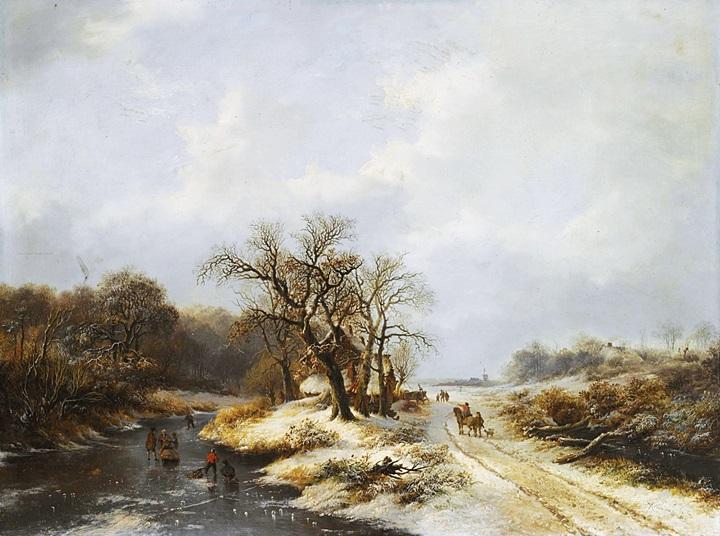 Фигуры на проселочной дороге возле замерзшей реки