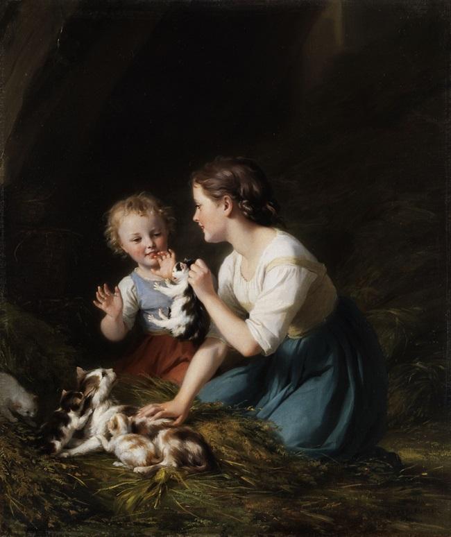 Дети с котенком