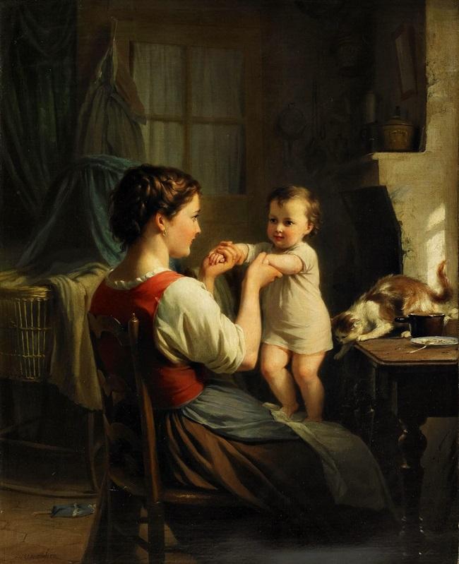 Мать и ребенок с кошкой
