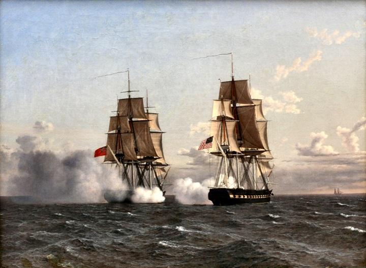 Бой между английским фрегатом Shannon и амер. фрегатом Chesapeak.