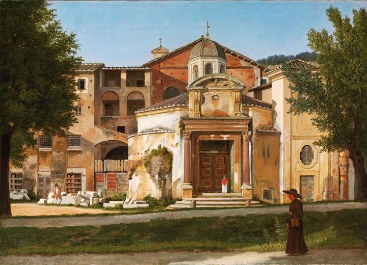 Вид Виа Сакра в Риме, церковь Святых Косьмы и Дамиана.