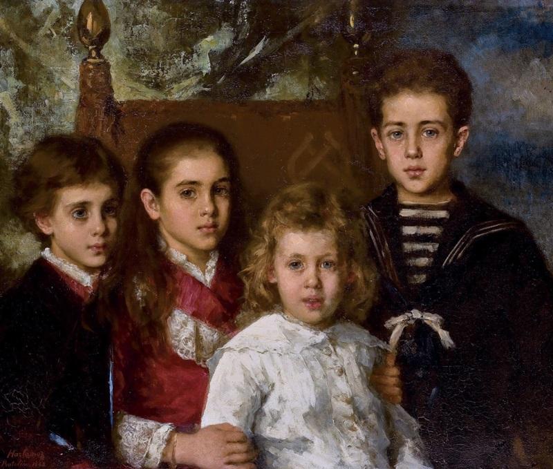 Портрет четверых детей от второго брака П.П. Демидова (1839-1885), Авроры, Анатолия, Марии и Павла