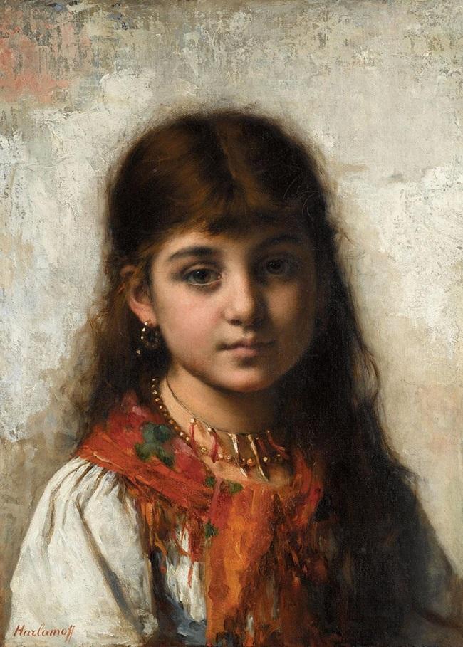 Девочка с коралловым ожерельем и платком
