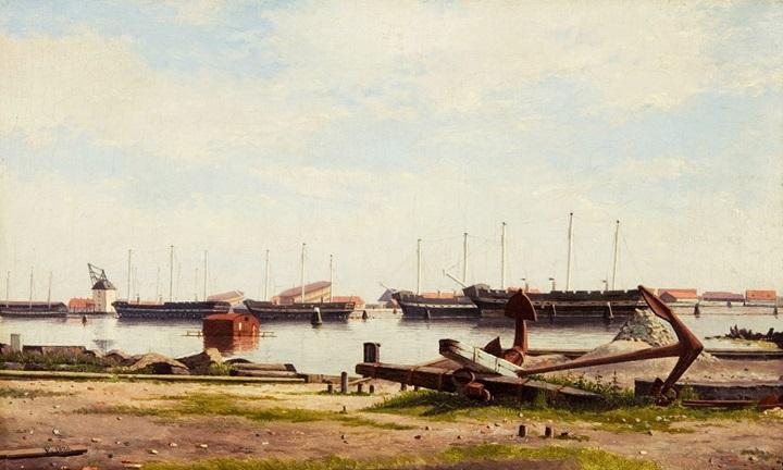 Вид на пристань в Нюхольм с военными кораблями.