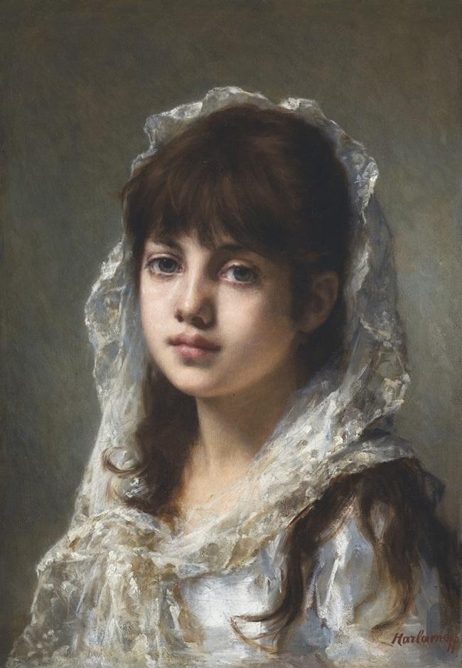 Портрет девушки в белом платке