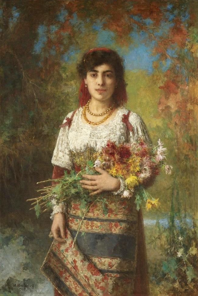 Цыганская девушка с цветами