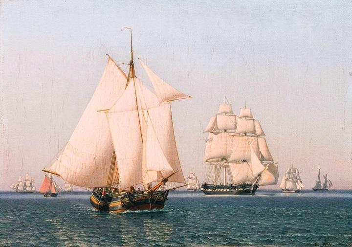 Корабли под парусами в слабый ветер в ясный летний день.