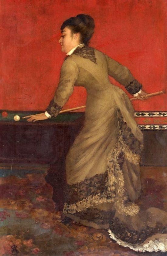 Элегантная дама за бильярдом