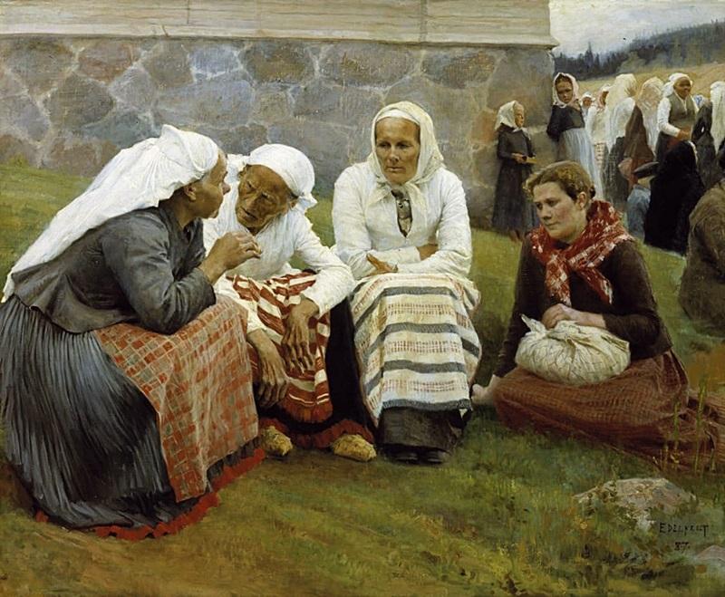 Соседки, сидящие у церкви после обедни