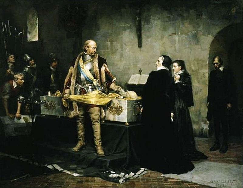 Шведский король Карл оскорбляет труп своего врага штатгальтера Флемминга в 1537 году