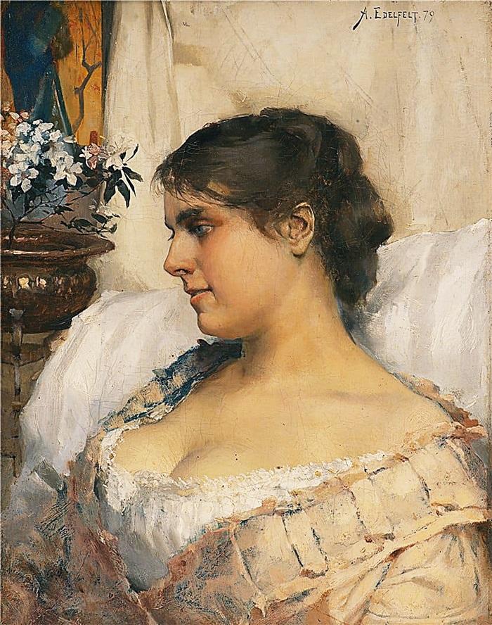 Молодая женщина в будуаре
