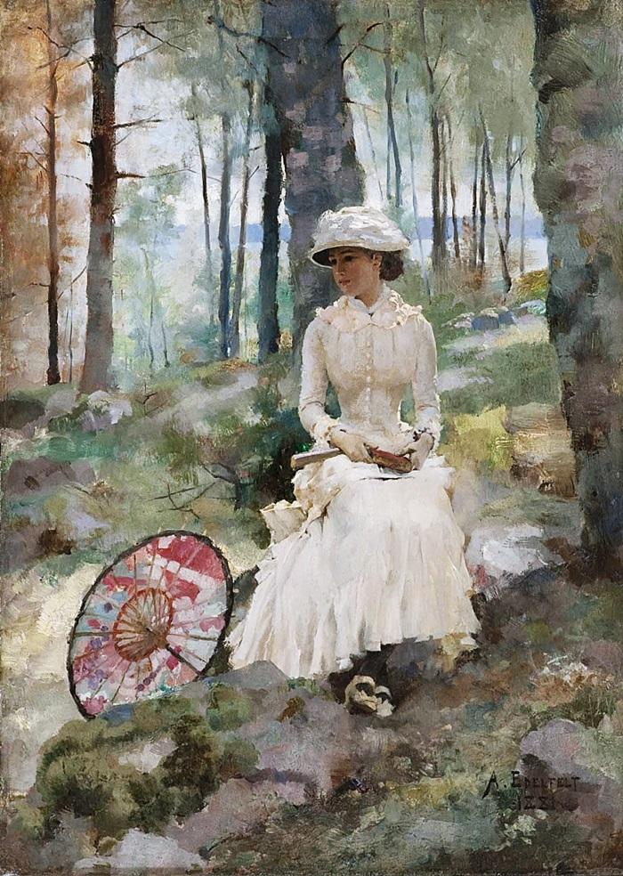 Портрет молодой женщины в белом