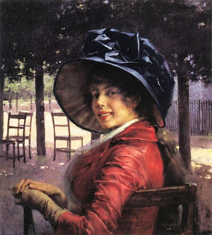 Портрет молодой женщины в красном