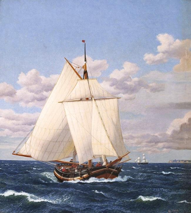 Датская яхта, проходящая Стевнс.