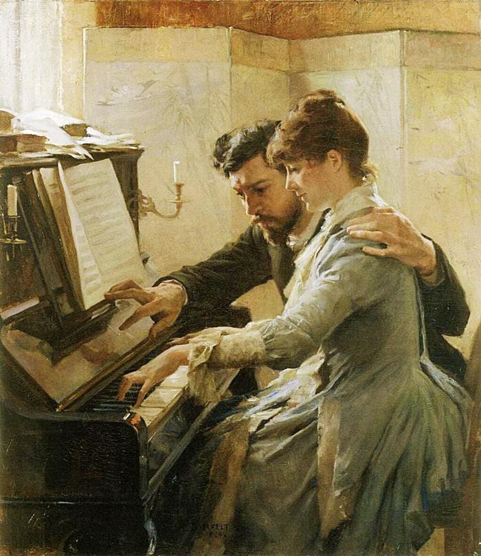 Сидящие за пианино