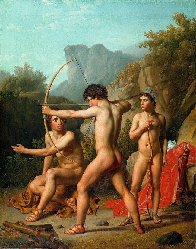 Три спартанских мальчика стреляют из лука.