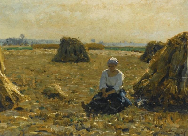 Молодая женщина в полях.