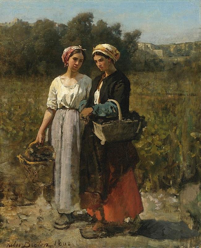 Две молодые женщины, несущие виноград.