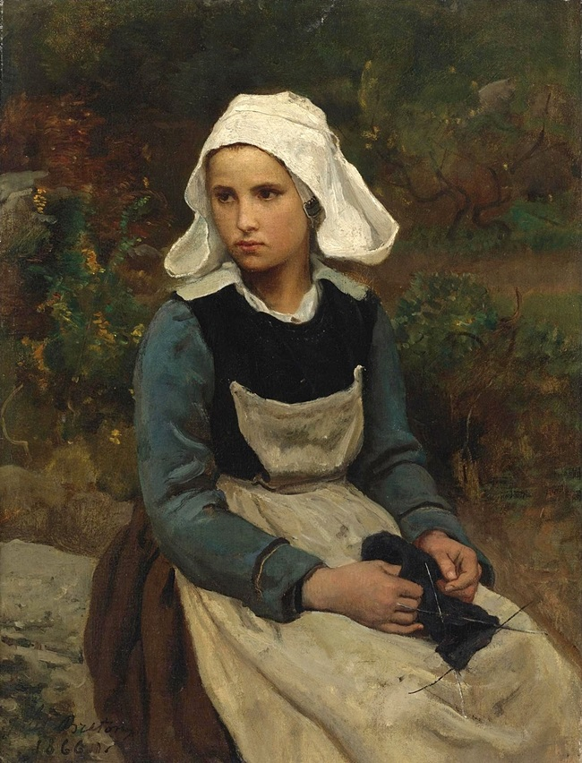 Молодая бретонка с вязанием.
