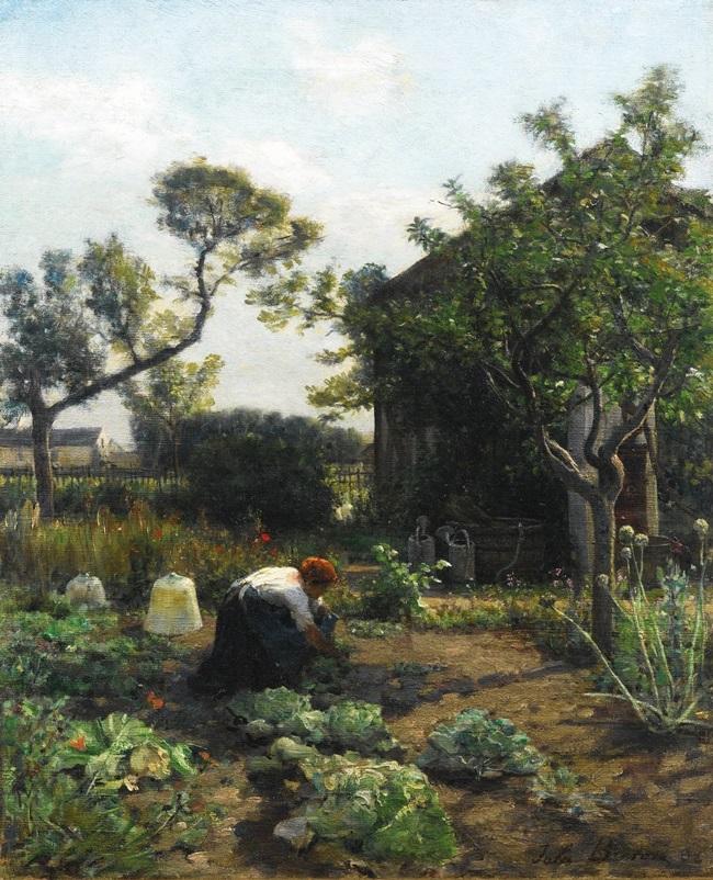 Молодая женщина в саду художника, Куррьер.