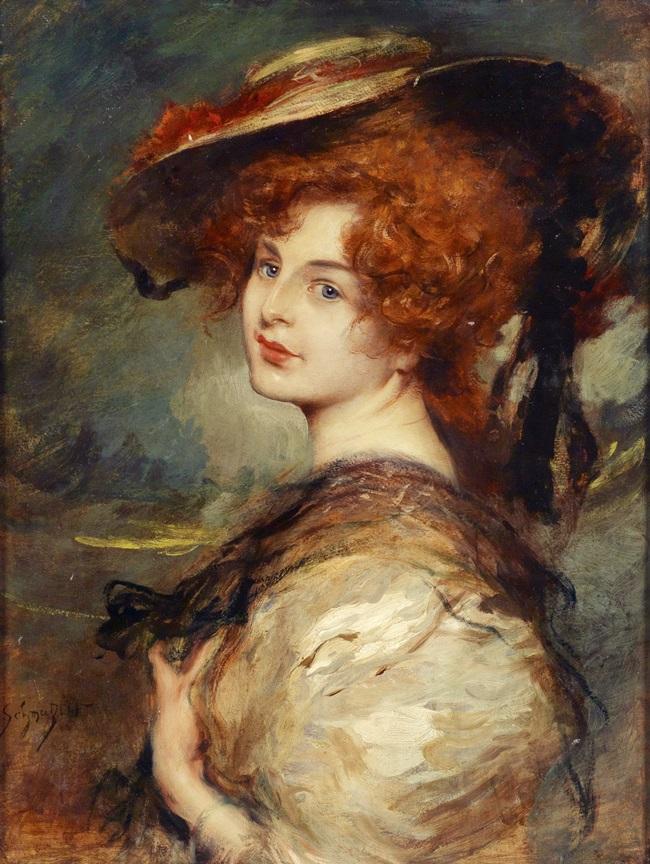 Портрет рыжеволосой дамы в шляпе.