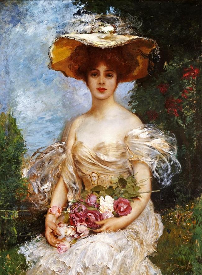 Портрет элегантной женщины, сидящей в саду.